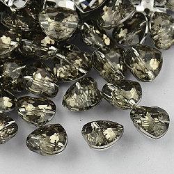 1 -hole taiwan boutons cœur en strass acrylique, facettes et dos plaqué argent, lightgrey, 25x25x10 mm, trou: 1.5 mm(X-BUTT-F017-25mm-19)