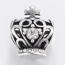 Perles de strass en 304 acier inoxydable, Perles avec un grand trou   , couronne, argent antique, 15x12.5x11mm, Trou: 7x5mm(STAS-H446-87AS)