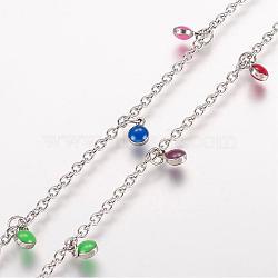 """Bracelets de cheville en 304 acier inoxydable avec pendentif, avec des charmes émaillés, plat rond, platine, couleur mixte, 10-5/8"""" (270 mm); 2mm(AJEW-E032-01)"""