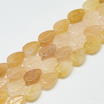 14mm Leaf Topaz Jade Beads