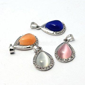 Cat Eye Pendants, with Brass Rhinestone Pendant Settings, Platinum Color, Teardrop, Mixed Color, 22x14x6mm, Hole: 4x5mm(X-G-G379-MP)