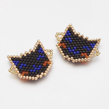 MIYUKI & TOHO Handmade Japanese Seed Beads Links, Loom Pattern, Cat, Black, 19.5x26x2mm, Hole: 1~2mm(X-SEED-G003-230-3)