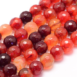 Natural Agate Bead Strands, Round, Faceted, Dyed & Heated, DarkOrange, 10mm, Hole: 1mm; about 37~38pcs/strand, 14.5inches