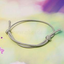 Création de bracelets en corde de polyester ciré coréen, gris clair, diamètre réglable: 40~70 mm(AJEW-JB00011-15)