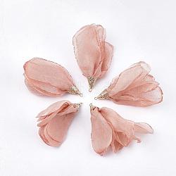 большие подвески из полиэстера, с железом выводы, цветок, светлое золото, lightcoral, 63~67x10 mm, отверстия: 1.5~2 mm(FIND-T051-10)