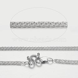 990 colliers en chaîne en argent sterling, fermoirs s-crochet, plaqué argent, 18.1 (46 cm); 2 mm(STER-P019-12)