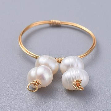 Grade A Natural Freshwater Pearl Rings, with Environmental Copper Wire, Golden, 18mm; 1~1.5mm(X-RJEW-JR00264)