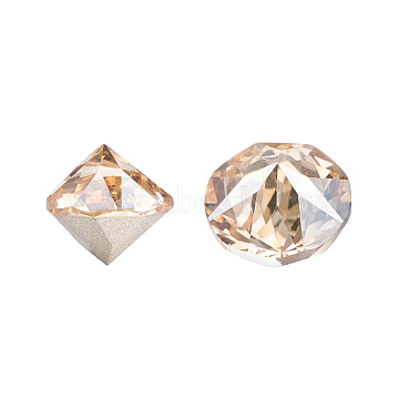 K9 Glass Rhinestone Cabochons, Pointed Back & Back Plated, Faceted, Cone, Golden Shadow, 10x10mm(X-RGLA-G006-10mm-001GS)