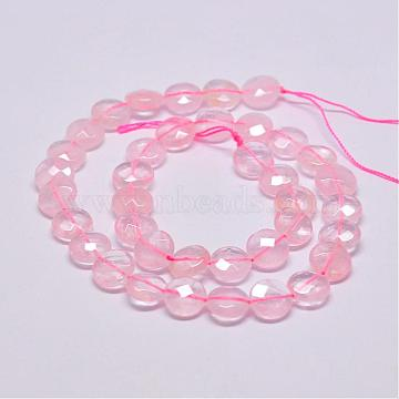10mm Pink Flat Round Rose Quartz Beads