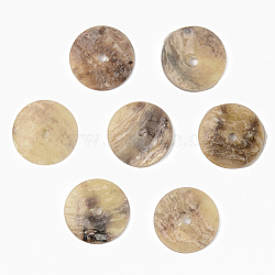Natural Akoya Shell Beads, Mother of Pearl Shell Beads, Flat Round, Camel, 12x1mm, Hole: 1.4mm(SHEL-R048-028A)