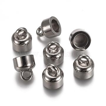 CCB Plastic Cord Ends, End Caps, Column, Platinum, 14.5x12.5mm, Hole: 3.5mm; Inner Diameter: 8mm(CCB-L011-061P)