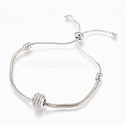 bracelets bolo réglables en laiton, bracelets de slider, avec micro ouvrir zircons, sans plomb et sans cadmium et sans nickel, plaqué longue durée, platine, 1-1 / 2 / 2-7 8 cm ~ (3.8 cm); 7.4 mm(BJEW-P218-01P)