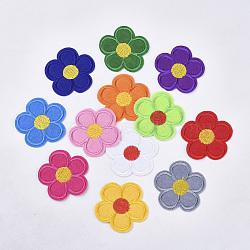 Tissu de broderie informatisé fer/coudre sur les patchs, accessoires de costumes, appliques, fleur, couleur mixte, 51x53x1.5 mm; environ 12 couleurs, 1 couleur / 10pcs, 120 pcs /sachet (AJEW-S076-012)