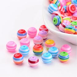 perles de bande de résine ronde, couleur mélangée, 8 mm, trou: 2 mm(X-RB062)