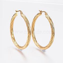 304 boucles d'oreilles en acier inoxydable, boucles d'oreilles hypoallergéniques, bande de torsion, or, 42x40x3.5 mm; broches: 1x0.8 mm(EJEW-H322-17G)