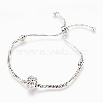 Adjustable Brass Bolo Bracelets, Slider Bracelets, with Micro Pave Cubic Zirconia, Lead Free & Cadmium Free & Nickel Free, Long-Lasting Plated, Platinum, 1-1/2inches~2-7/8inches(3.8cm~7.4cm); 1~3mm(BJEW-P218-01P)