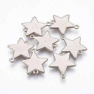 CCB Plastic Links, Star, Platinum, 25x22.5x3mm, Hole: 1.8mm(CCB-E052-33AS)