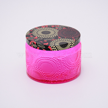 Glass Storage Box, Container for Jewelry, Aromatherapy Candle, Candy Box, with Slip-on Lid, Flower Pattern, Fuchsia, 71x52mm(CON-WH0072-27C)