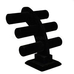 Présentoir de bracelet en velours à 3 barre en T, avec du bois à l'intérieur, noir, 285x150x310mm(BDIS-E005-1A)
