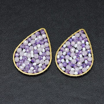 32mm Lilac Drop Glass Beads