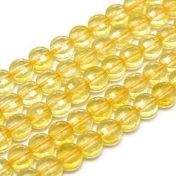 Chapelets de perles de citrine naturelle, facette, plat rond, 6x3~4mm, trou: 1mm; environ 61 pcs/chapelet, 15.7'' (40 cm)(G-G792-12)