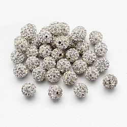 Perles de boule pavé disco , Perles de strass en argile polymère, rond, cristal, 10mm, Trou: 2mm(X-RB-S605-16)