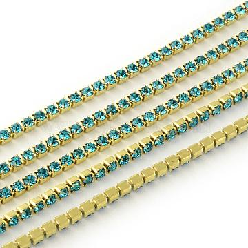 Nickel Free Raw(Unplated) Brass Rhinestone Strass Chains, Rhinestone Cup Chain, 2880pcs rhinestone/bundle, Grade A, Aquamarine, 2.2mm, about 23.62 Feet(7.2m)/bundle(CHC-R119-S6-17C-1)