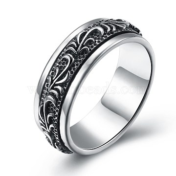 New Fashion Thai 925 Sterling Silver Rings, Leaf, Antique Silver, Size 11, 20.6mm(RJEW-BB33692-11)