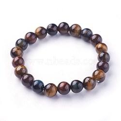 "Bracelets extensibles avec perles en œil de tigre naturel, rond, 2""~2-1/8"" (5.2~5.5cm); perles: 8~9mm(X-BJEW-F380-01-B18)"