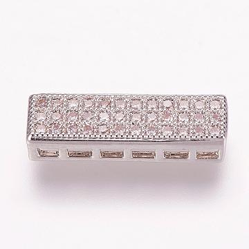 Brass Micro Pave Cubic Zirconia Pendants, Multi-strand Links, Rectangle, Platinum, 5x18x4mm, Hole: 1.5x2mm(X-ZIRC-E119-91P)