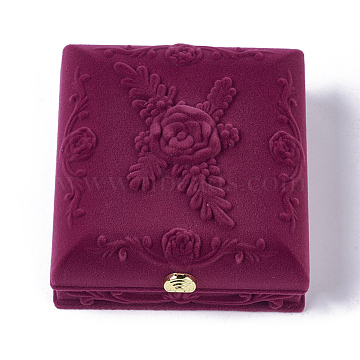 Rose Flower Pattern Velvet Jewelry Set Boxes, Necklaces & Earrings Boxes, with Cloth and Plastic, Rectangle, Medium Violet Red, 8.6x9.3x3.8cm(VBOX-O003-04)