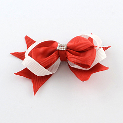 Noël gros-grain bowknot alligator pinces à cheveux, avec des clips de fer et rhionestones, rouge, platine, 70x90mm; clip: 41x7mm(PHAR-R167-10)