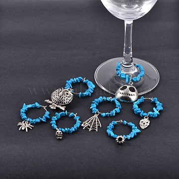 Halloween Theme Tibetan Style Alloy Wine Glass Charms, with Synthetic Turquoise Chips Beads and Brass Wine Glass Charm Rings Hoop Earrings, Antique Silver, 49~75x30mm(AJEW-JO00065)