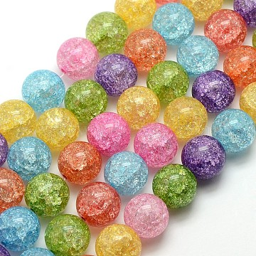 Synthetic Crackle Quartz Round Beads Strands, Dyed & Heated, Mixed Color, 12mm, Hole: 1mm; about 35pcs/strand, 16.14inches(G-L155-12mm-01)