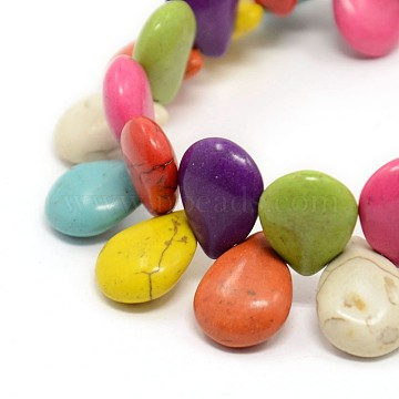 19mm Colorful Drop Synthetic Turquoise Beads