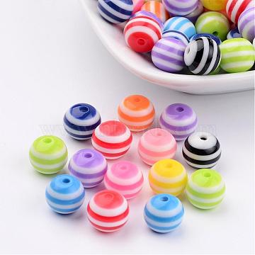 Round Resin Stripe Beads, Mixed Color, about 10mm in diameter, hole: 2mm(X-RB061)