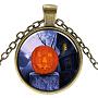 стеклянные ожерелья на Хэллоуин, сплава с выводами, плоские круглые с тыквой, античная бронза, 17.7 (45 см); подвеска: 27 мм