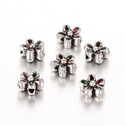 Plaqué argent antique perles fleurs d'émail en alliage, verte, 6.5x3.5mm, Trou: 1mm(ENAM-E309-01AS)