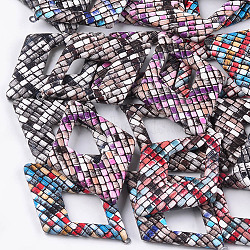 Gros pendentifs en similicuir, avec fond en aluminium, losange, platine, couleur mixte, 54x37.5x4mm, Trou: 1.5mm(X-WOVE-S118-20)
