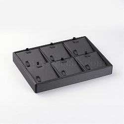 Wooden Necklaces Presentation Boxes, Covered with PU Leather, Black, 18x25x3.2cm(NDIS-O007-01)