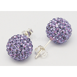 Sterling Silver Austrian Crystal Rhinestone Ball Stud Earrings for Girl, Round, 539_Tanzanite, 17x8x1mm(X-Q286H221)