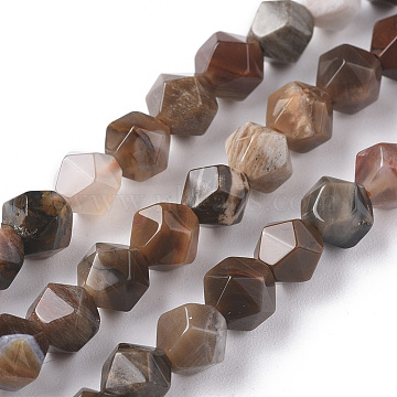 Natural Petrified Wood Beads Strands, Star Cut Round Beads, Faceted, 6mm, Hole: 1mm; about 62pcs/strand, 15.16 inches(38.5cm)(G-F668-02-6mm)