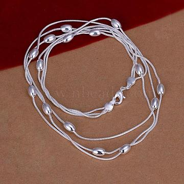 Popular Silver Color Plated Brass 3-strand Snake Chain Necklaces, with Oval Beads, 18 inches(NJEW-BB12850)