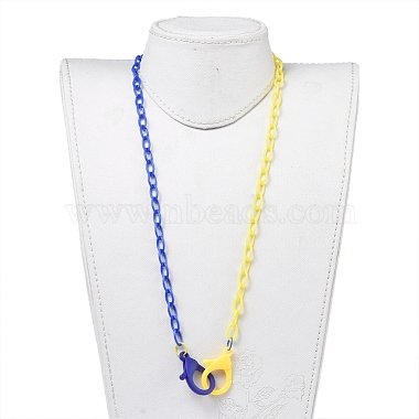 Personalized Two Tone ABS Plastic Cable Chain Necklaces(X-NJEW-JN02825-05)-4