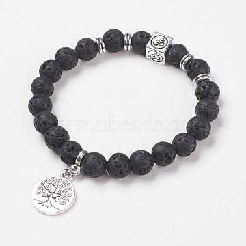 Natural Lava Rock Stretch Bracelets, with Alloy Pendants & Findings, Tree of Life & Om Symbol, Burlap Packing, 2-1/8 inches(5.3cm)(X-BJEW-JB03771-01)