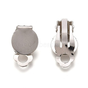 Flat Round Tray Iron Clip-on Earring Settings, Platinum, Tray: 10mm; 18x7mm, Hole: 3mm(IFIN-R204-09)