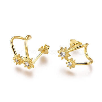 925 Sterling Silver Stud Earrings, with Clear Cubic Zirconia, Carved with S925, with Ear Nuts, Flower, Real 18K Gold Plated, 12.5x8.5mm, Pin: 0.6mm(EJEW-AA00271-16G)