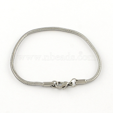 304 Stainless Steel European Style Bracelets for Jewelry Making, Stainless Steel Color, 190x3mm(X-PPJ-R002-01)