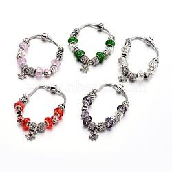 Bracelets européens de mode en laiton, avec des perles de verre et perles en alliage de strass, couleur mixte, 190x3mm(BJEW-L583-01)