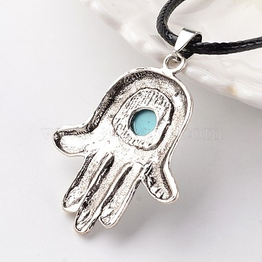 Hamsa Hand/Hand of Fatima/Hand of Miriam Antique Silver Tone Alloy Synthetic Turquoise Pendant Necklaces(NJEW-E075-05A)-3